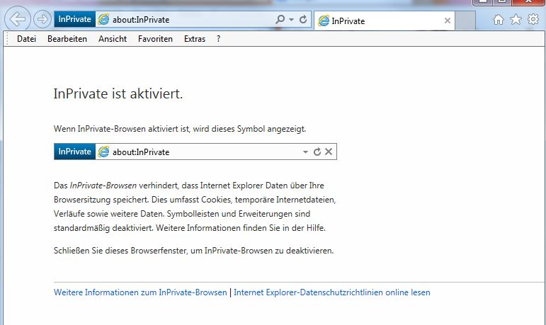 Internet Explorer: Anonym Surfen
