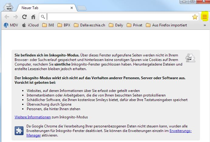 Google Chrome: Anonym Surfen