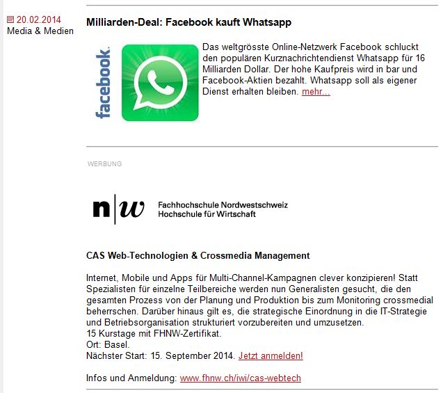 Gute Nachbarschaft: Facebook - Whatsapp - CAS Webtechnologie & Crossmedia Management