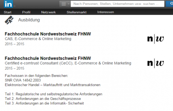Beispiel Ausbildung: CAS E-Commerce & Online-Marketing FHNW