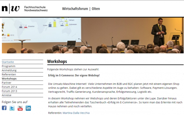 Wirtschaftsforum FHNW in Olten. Workshop Webshop
