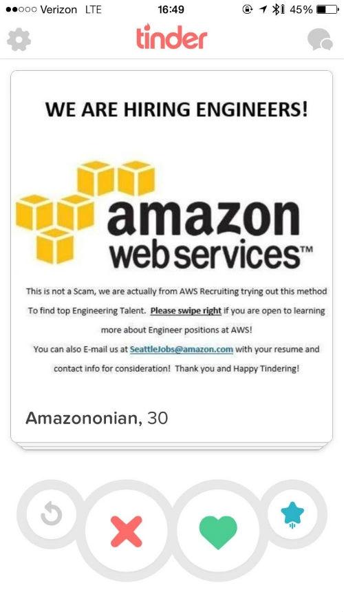 Social Recruiting: Auf Tinder sucht Amazon neue Mitarbeitende