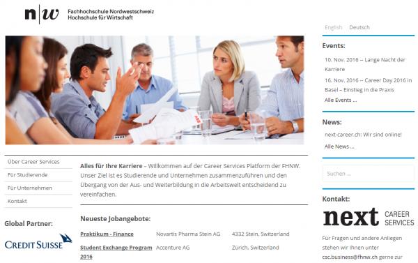 Praktikum- und Job-Börse für Studenten. Career Services der FHNW.